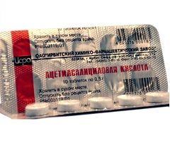 Лікарська форма ацетилсаліцилової кислоти - таблетки