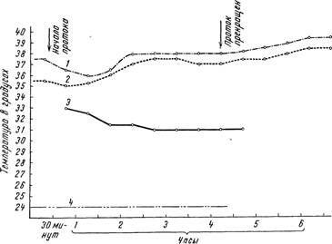 Динаміка змін температури тіла ненаркотізірованних тваринного при проведенні гіпотермічного проточного черевного діалізу